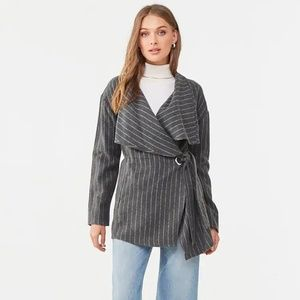 Jackets & Blazers - Pinstriped-Belted Jacket